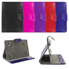"Adjustable 4 Corners Luxury Leather Case Cover Skin w/ Stand for 7"" Inch Tablets"