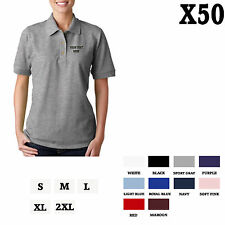 CUSTOM PERSONALIZED EMBROIDERED Sport Gray Cotton Women Polo Shirt Top Set of 5