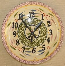 Temp-tations Clock Old World Floral Lace Upcycled Plate Ceramic Stoneware Colors