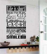 Life Is Short Break The Rules Vinyl Decal Wall Art Stickers Letters Word Decor