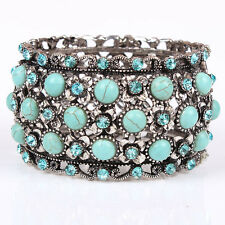 Charms Fashion Europe Cuff Bracelets Vintage Silver Turquoise Hollow Out Bangles