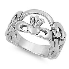 .925 Sterling Silver Irish Celtic Heart Claddagh Promise Ring Size 4-10