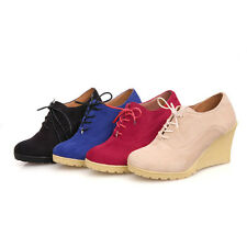 NEW Fashion High Heels Shoes PU Leather Boots Wedge Ankle Platform Cheap Shoes