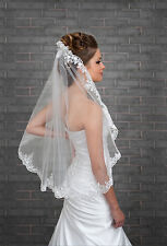 "1 Tier Ivory Wedding Lace Edge Bridal Elbow Veil With Comb 32"" (VK-20)"