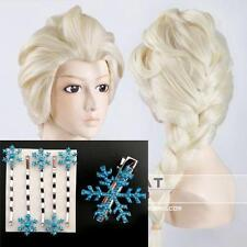 A13 - Frozen Princess Snow Queen Elsa Long Braid Adult Wig / SnowFlake Hairpins