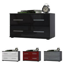 Bedside Table Cabinet Chest of Drawers Kioto Black - High Gloss & Natural Tones