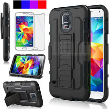 HEAVY DUTY RUGGED Impact Holster Hard Case Cover for Samsung Galaxy S5 SV i9600
