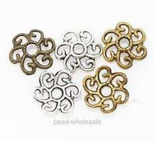 100pcs Large Flower Bead Caps Antique Silver/Gold/Bronze Color Findings 11mm