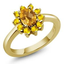 1.20 Ct Oval Checkerboard Yellow Citrine Yellow Sapphire 14K Yellow Gold Ring