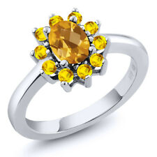 1.20 Ct Oval Checkerboard Yellow Citrine Yellow Sapphire 925 Silver Ring
