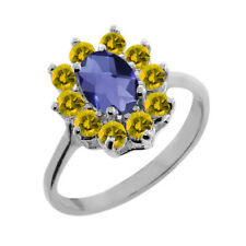 1.15 Ct Oval Checkerboard Blue Iolite Yellow Sapphire 18K White Gold Ring