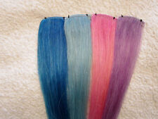 New PASTEL Human Hair Clip In Extensions, 8 Inches long, Choose Color