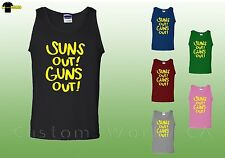 Gym Fitness Clothes Tank Top for Men -  Sun's Out Guns Out ( yellow) -  Workout