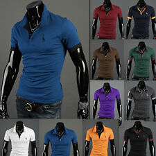 New Mens Slim Fit Stylish POLO Shirt Short /Long Sleeve Casual T-shirts Tee Tops