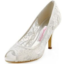 HP1400 Women's Peep Toe Lace Pumps Wedding Shoes US 4-11