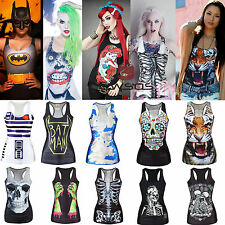 Women's Digital Print Graphic Tank Vest Top Blouse Gothic Punk t-Shirt Clubwear