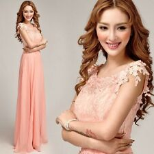 Pink lace Nail bead the flat shoulder long paragraph wedding evening dress D102