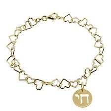 9ct Gold Plated on Silver Heart Link Charm Bracelet With Chai Jewish Charm Gift