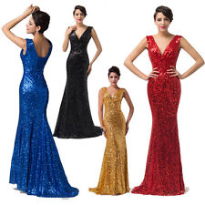Shiny Sequins  Brides Formal Prom Party Ball Cocktail Evening Vintage Long Dress