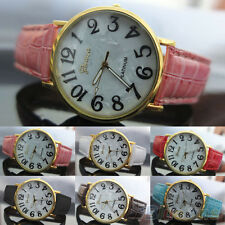 Mens Womens New Trendy Geneva Shell Face Style Faux Leather Quartz Wrist Watch