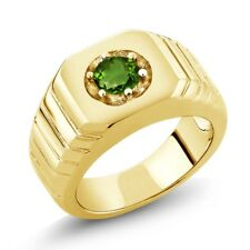 0.50 Ct Round Green SI1/SI2 Chrome Diopside 14K Yellow Gold Men's Solitaire Ring
