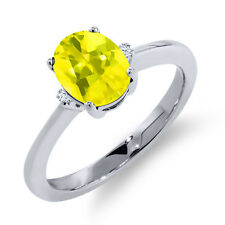 1.62 Ct Oval Canary Mystic Topaz White Sapphire 18K White Gold Ring