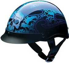 HCI Blue Tribal Skull Pattern, ABS Shell Half Motorcycle Helmet w/Visor 100-133