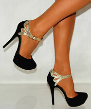 Black Suede Gold Snake Print Strappy Sandals Party Platforms High Heels Shoes