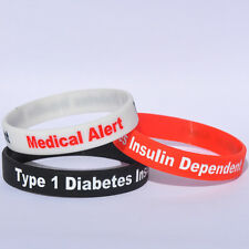 Medical Alert - Type 1 Diabetes Insulin Dependent - Silicone Bracelet Wristband