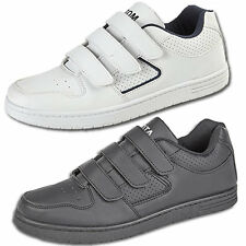 Mens New Black or White Flat Sole Casual Velcro Trainers Free UK Shipping