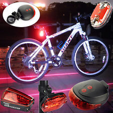 5 LED+2 Laser Cycling Bicycle Bike Red Rear Tail Light Lamp Waterproof Flash 9 L