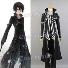 Sword Art Online SAO Kazuto Kirigaya Kirito Cosplay Costume Outfit Suit Coat Set