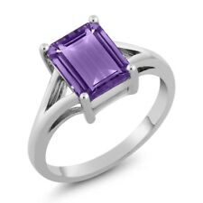 2.25 Ct Octagon Purple Amethyst 18K White Gold Ring