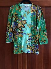 New Isaac Mizrahi Live Floral Crew Neck Button Down Cardigan Green FREE Shipping