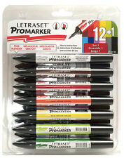 LETRASET ProMARKER Permanent Twin tip 12 PACK Set 1 / Set 2