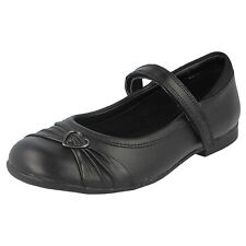 Clarks Dolly Heart Girls Inf & Jnr Black Leather Riptape Strap Shoes Fitting G&F