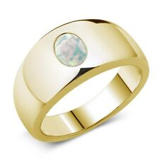 1.05 Ct Oval Cabouchon White AAA Opal 14K Yellow Gold Men's Ring