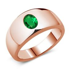 1.15 Ct Oval Green VS Simulated Emerald 18K Rose Gold Men's Ring