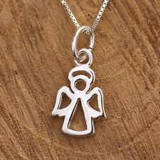Sterling Silver Necklace Dainty Guardian Angel Pendant Gift For lady or Children