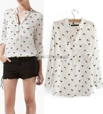 1pc  White Lady's Long Sleeve Puppy Printed T-shirt Tops Blouse S/M/L Hot Sale