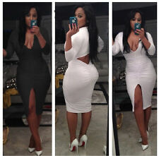 4073 Womens V Neck Celebrity Style Bandage Bodycon Dresses Party Dress 2 Colors