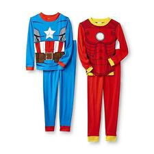 New!CHOOSE an Avengers Ironman OR Captain America 2 Piece Pajama Set Sizes 6 8