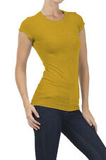 Women's Basic Solid Round Neck Tee by BLVD Mustard