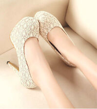 Women High Heels Shoes Party Shoes Fashion Lace Hollowed Platform Shoes Cheap