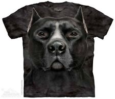 THE MOUNTAIN BLACK PITBULL PIT BULL HEAD SCARY BIG DOG MOUTH T TEE SHIRT S-5XL