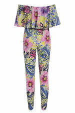 Womens Urban Floral Print Bandeau Neck One Piece Jumpsuit Size 8-14