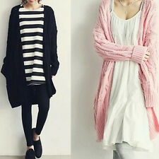 Korean Style Womens Elegant Cardigan Knitted Sweaters Jacket Solid Coat Knitwear