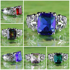 Dazzling Charming Natural Gemstone Emerald Cut Silver Ring US Size 6 7 8 9 10 11