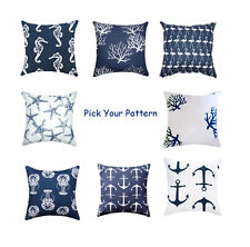 Premier Prints Nautical Beach Themed Navy Decorative Pillow Cover / Sham Cover