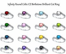 Round Cut Infinity Celtic CZ Birthstone Genuine Sterling Silver Ring Size 5 - 10